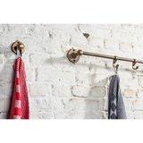 Handdoekhouder op korte steunen rond rozet, ruw brons_