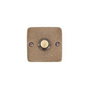 Deurbel / beldrukker vierkant BS, ruw brons