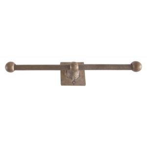 Toiletrolhouder dubbel op vierkant rozet, ruw brons