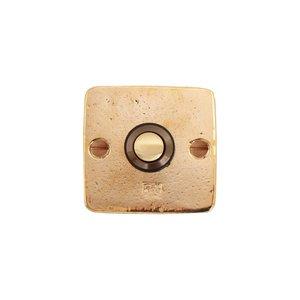 Deurbel / beldrukker vierkant BS, ruw brons gepolijst