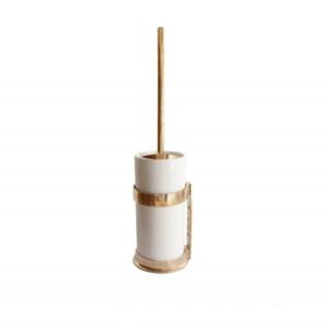 Toiletborstelhouder witte pot, ruw brons gepolijst