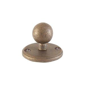 Kapstokhaak kogel op rond rozet, ruw brons