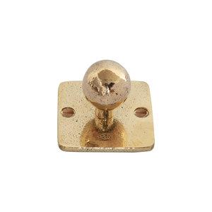 Kapstokhaak kogel op vierkant rozet, ruw brons gepolijst